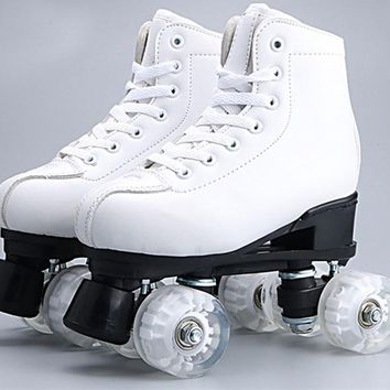Children Kids Double Line Quad Parallel Figure Skates Shoes Boots PU 4 Wheels Shockproof With Brake Breathable  White