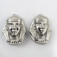 Egyptian Revival King Tut Earrings, Pharoah King Tut Large Silver Clip Ons,  Figural King Tutankhamun Egyptian Revival Jewelry, 1.50""