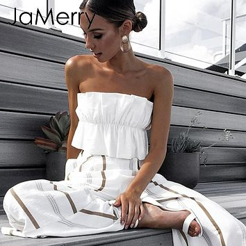 JaMerry Sexy strapless ruffle crop tanks cami top Summer holiday beach lace up solid women short tank top Party fashion camis