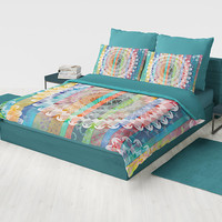 Striped Mandala Duvet Cover or comforter -  complex  geometric boho chic bedding