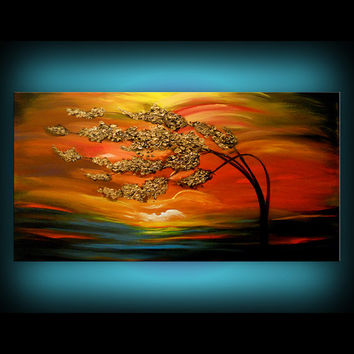 art abstract large original painting tree wind blowing acrylic painting metallic gold red painting cloud tree sunset 24 x 48