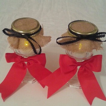Burlap red and black wedding candle jar / center piece set. Any color to match your wedding