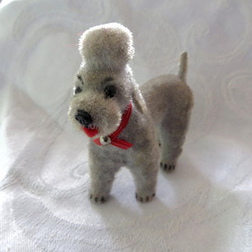 Vintage Wagner Kunstlerschutz Poodle, West Germany Flocked Standard Poodle Grey Flocked Dog  Vintage Dog Figurine