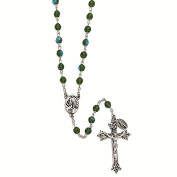 Silver-tone Green Czech Crystal Italian Made Rosary
