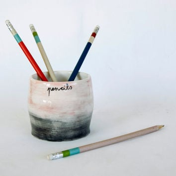 Ceramic Pencil Holder/ Back to school/ Gradient colors/ Gray- Pink ...