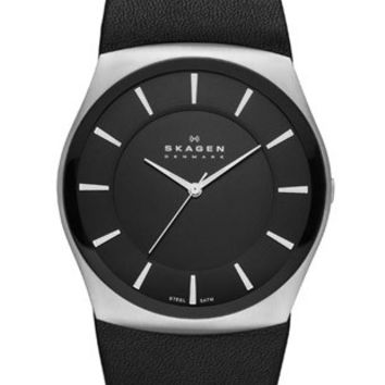 Skagen Klassik Mens Three Hand Watch - Black Dial - Black Leather Strap