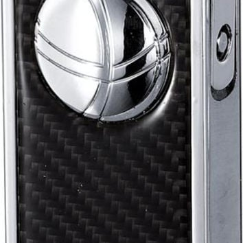 Visol Infinity Flame Chrome and Carbon Fiber Double Torch Cigar Lighter