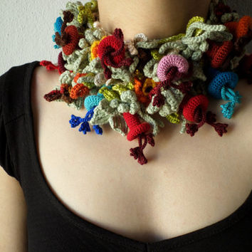 Freeform Crochet Skinny Scarf - Scarflette with Colorful Flowers