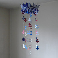 Nautical Anchor mobile! Red, White and Navy anchor mobile, nautical inspiration, nautical navy mobile, sailing, Ocean. Water, Nautical décor