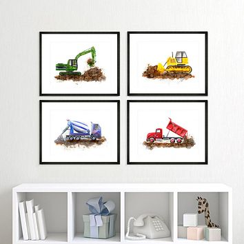Set of 4 Framed Construction Truck Art Prints