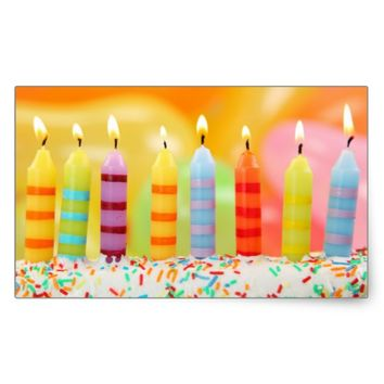 Birthday Candles Rectangular Sticker