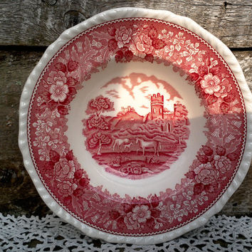 "Red Transferware Ironstone 8"" ""ADAMS"" Bowl, English Horse Scene, Floral, Serving, Shallow Bowl, English Transferware, Dish, Shallow Plate"