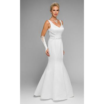 Juliet 345 V-Neck Wedding Gown Corset Back with Panel Train White