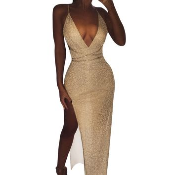 Sexy sequin party dress of women Backless v neck sumemr maxi dress Elegant beach party long dress vestidos festa