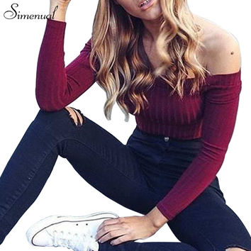 Long Sleeve Off Shoulder Crop Top Shirt by Simenual
