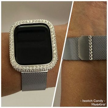 Silver Apple Watch Band Bling 38mm 40mm 42mm 44mm Milanese Loop Swarovski Crystal/Bezel 18k Gold Plated Case Cover 2.5mm Lab Diamonds Iwatch