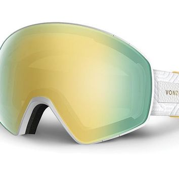 VonZipper - Jetpack White Satin Snow Goggles / Gold Chrome Lenses