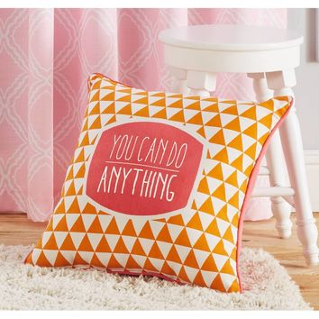 Better Homes and Gardens You Can Do Anything, Orange and Pink Inspirational Pillow with Binding