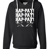 Medium Lime Womens Hap-pay Hap-pay Hap-pay Happy Happy Happy Duck Dynasty Duck Hunting Deluxe Soft Fashion Hooded Sweatshirt Hoodie
