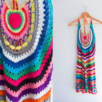 90's Vintage Crochet Rainbow Kawaii Grunge Colorful Happy Hippy Knit Stripes Halter Dress Size M