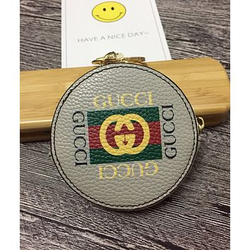 """""""GUCCI"""" Popular Lovely Round Leather Zipper Key Pouch Wallet Coin Purse Black I-MYJSY-BB"""