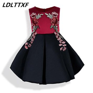 New Rose Stitching Dress Sleeveless High-quality Brand Embroidery Flowers Girl Dresses For Party And Wedding Evening Dresses