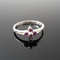 Purple CZ Ring, Silver Ring, Pinky Ring, Purple Flower Ring, Sterling Ring, Size 4 Ring, 925 Ring, Small Silver Ring, 925 CZ Flower Ring