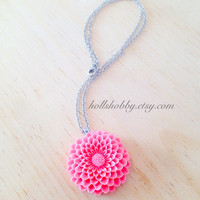 Pink Flower Necklace, Pink Dahlia Pendant, Coral Dahlia Pendant, Pink Floral Jewelry, Resin Flower Jewelry, Spring Jewelry, Gifts for Women