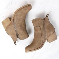 Kelly Faux Leather Zipper Ankle Booties in Light Taupe
