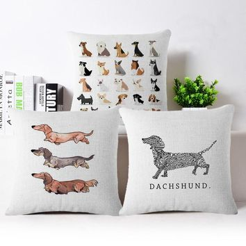 Cartoon dog pawed patrol Cotton Linen Bull Terrier Painted Bull dog dachshund 3D Cheap Cushion Cover For Home Sofa Pillow Case