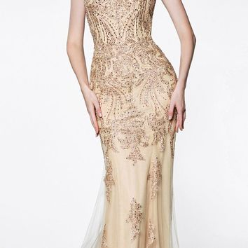 Fitted Embellished Lace Gown Gold Illusion Beaded Straps Open Back