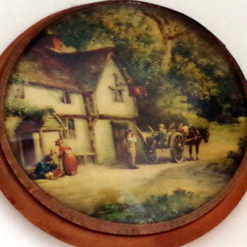 Vintage Convex Glass Picture in Wood Frame - Antique Bubble Glass with Litho of English Tavern Scene- Charming Rustic Wall Decor