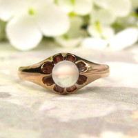 Antique Belcher Moonstone Ring Unique Alternative Engagement Ring 14K Yellow Gold Antique Victorian Wedding Ring Size 7!