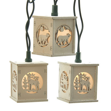 Kurt Adler UL 10-Light White Wooden Lantern Light Set with Bears and Deer