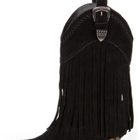 Very Volatile Hillside Black Fringe Leather Cowboy Boots