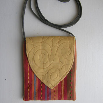Small Cross Body Bag - Tribal Bag - Red Yellow Orange and Green