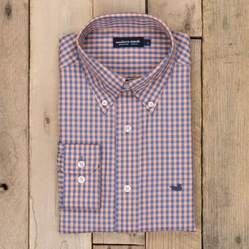 Southern Marsh, Memphis Gingham Dress Shirt, Purple & Peach