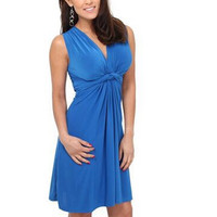 Plain Wrapped Knot-Front V-Neck Dress