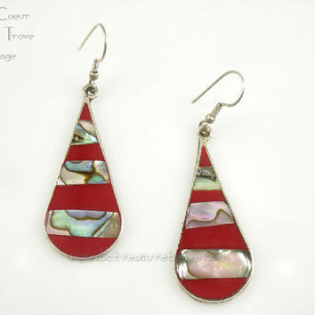 Abalone Striped Red Mexico Silver Alpaca Pierced Dangle Earrings Vintage