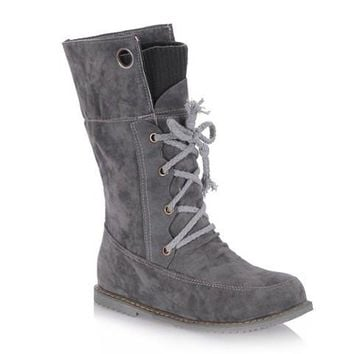 Casual Sweater Boots With Suede and Lace-Up Design