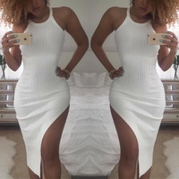 Fashion Scoop Neck Bodycon Sleeveless Off Shoulder Backless Mini Dress