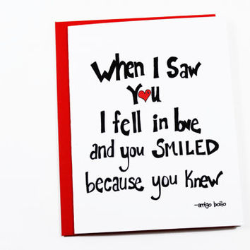 Romantic Anniversary Card - I Love You Card - When I Saw You I Fell in Love - Boyfriend Card