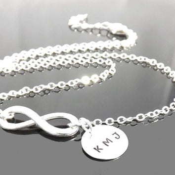 Personalized infinity necklace  -  personalized initial - Pendant necklace