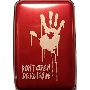 Don't Open Dead Inside - Red Aluminum Hard Credit Card Wallet