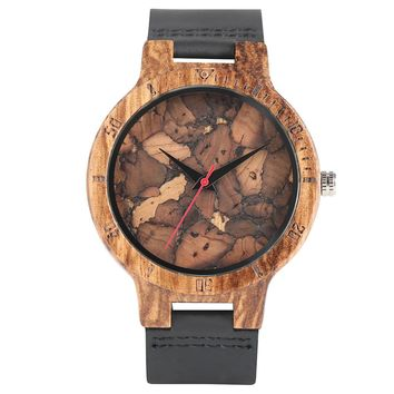 Simple Wood Watch Men's WristWatches Minimalist Design Original Wooden Bamboo Watch