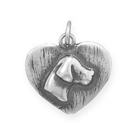 Oxidized Sterling Silver Dog Silhouette Charm