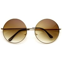 Super Large Oversized Metal Round Circle Sunglasses (Gold / Amber):Amazon:Shoes