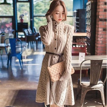Thicken Sweater Slim Women's Fashion Jacket Cardigan with Belt [9377723396]