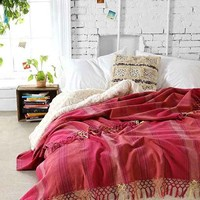 Magical Thinking Woven Fringe Bed Blanket- Pink Full/queen
