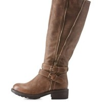 Light Taupe Side-Zipper Belted Riding Boots by Charlotte Russe